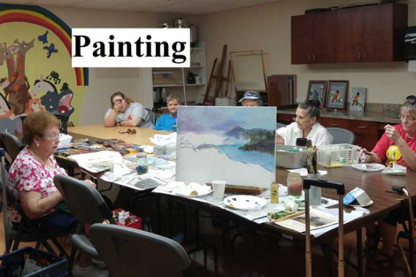 Art class at Tri-County Meals on Wheels, Palestine, TX